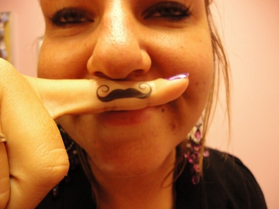 Finger stache temporary tattoo sticker - 10 pack
