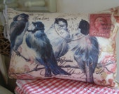 French Shabby Chic Cream Bluebirds Postcard Country Calico Cushion bolster pillow