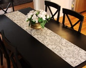 Table Runner - White and Grey Damask Table Runners Damask Table Runners For Weddings or Home Decor - Select A Size