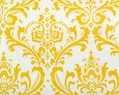 """REMNANT SALE - Only 2 Left This Size - 12x69"""" White and Yellow Damask Table Runners"""