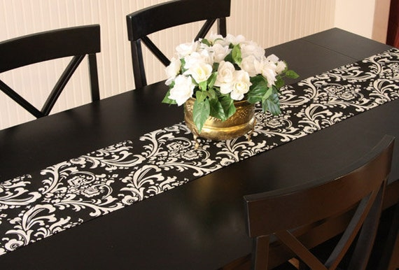 Table Runner - Black and White Damask Table Runners Damask Table Runners   Select A Size