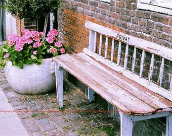 "Copenhagen, Denmark - ""Privat"" Bench -  Fine Art, Travel Photography, Various sizes / matted available"