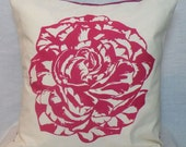 Rose Cushions - Fuschia on natural calico