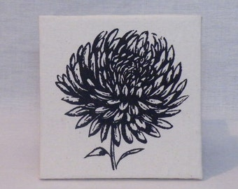 Chrysanthemum Canvas - Black on natural calico