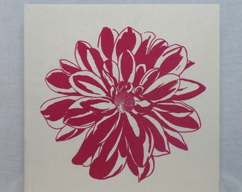 Chrysanthemum Canvas - Fuchsia on natural calico