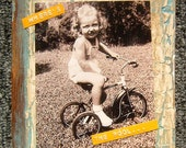 """VINTAGE GIRL TRICYCLE """"Where's The Pool"""" on Wood"""