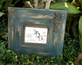 """5""""x7"""" Teal, Gold, Copper, and Chocolate Brown Photo Frame with Cross"""