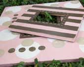 Frame Grouping: PINK, White, Tan, and Brown POLKA dots and STRIPES