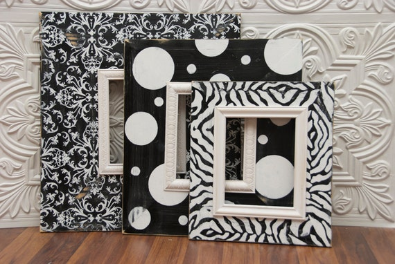 "Set of (3) 8""x10"" Hand Painted Black and White Picture Frames"