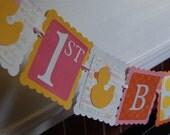 Rubber Duck Birthday Banner, Happy 1st Birthday, Rubber Duck Birthday Party