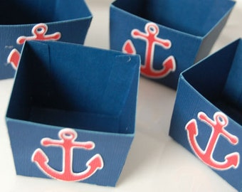 Candy Cups, Nut Cups, Dessert Cups, Shower Favors, Wedding Favors, Birthday Favors, Nautical Theme, Blue with Red Anchor, 12 Pcs