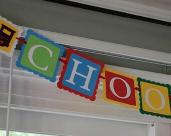 Choo Choo Banner, All Aboard, Train Theme, Train Birthday, Train Baby Shower