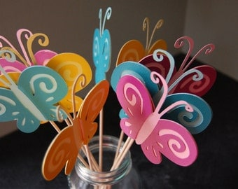 Butterfly Centerpieces, 9 Pieces, First Birthday, Butterfly Birthday,