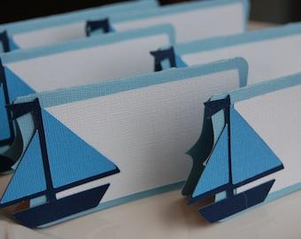 Sailboat Place Card, Sailboat Food Labels, Sailboat Party Supplies, Nautical, 12 Pcs, You Select the Colors