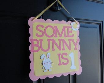 Bunny Door Sign, Bunny Welcome Sign, Bunny Rabbit, Some Bunny is 1, Bunny Theme Door Sign