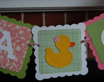 It's a Girl Banner, Rubber Duck Banner, Rubber Duck Baby Shower, Rubber Duck Shower, Rubber Duck Theme, Green and Pink