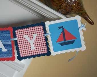 Sailboat Happy Banner, Happy Birthday Banner, Nautical Birthday Banner, Sailboat Birthday, Red, White, Navy and Blue