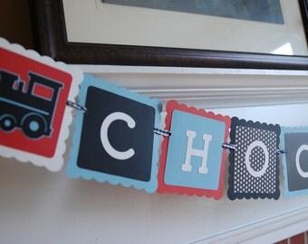 Choo Choo Banner, All Aboard, Train Theme, Train Birthday, Train Baby Shower, Red, Black White and Blue