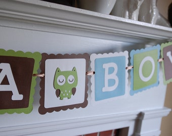 Owl It's A Boy Banner, Owl Baby Shower Banner, Owl Theme, Owl Banner