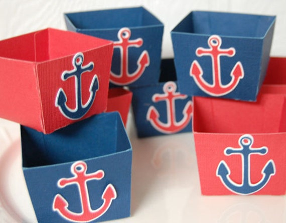 Nautical Candy Cups, Anchor Candy Cups, Nut Cups, Favors, Red White and Blue, Anchor Decoration, Nautical Party, 12 pieces