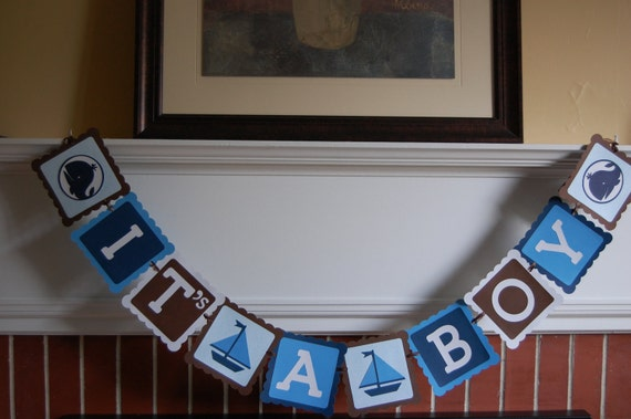 Whale Banner, It's A Boy Banner, Baby Shower Banner, Whales and Sailboats, Whale Shower, Nautical Shower,