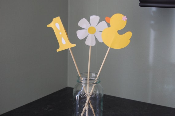 Rubber Duck Centerpieces, Rubber Duckie, Daisy, 9 Pcs