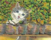 Cat painting Kitten Painting Whimsical Painting Flower pots Painting Original Painting Acrylic Painting