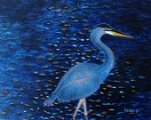 Great Heron Painting Seascape Painting Crane Painting Florida Painting Wild Life Painting Original Painting