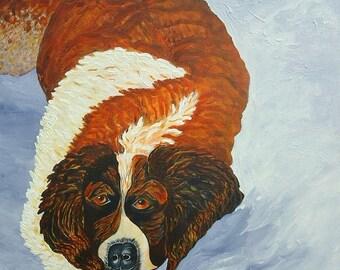St. Bernard  Painting Dog Painting Snow Painting  Acrylic Painting on Canvas