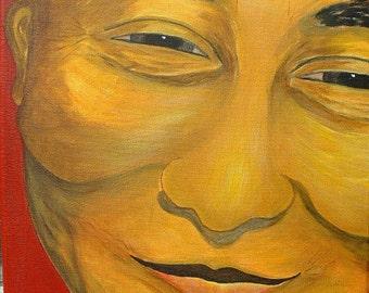 Dalai Lama Painting Dalai Lama Portrait Original Painting Acrylic Painting
