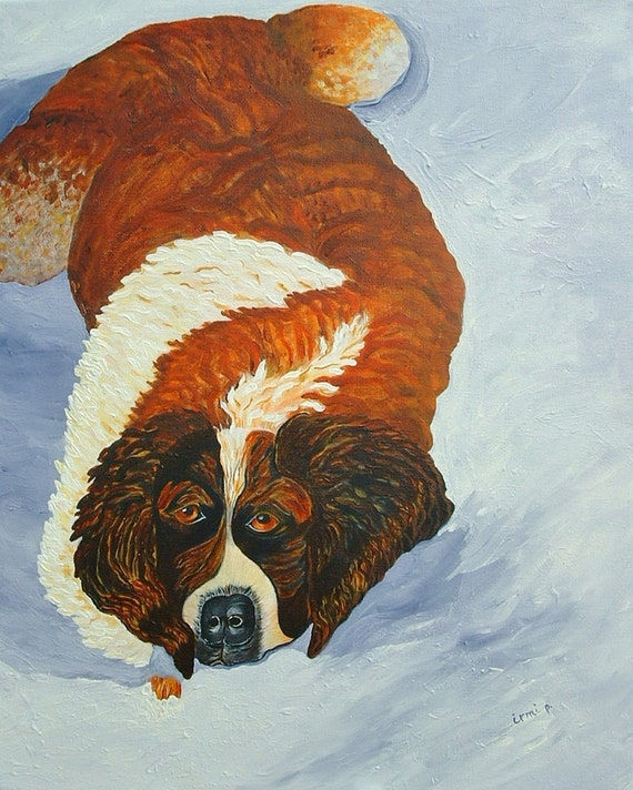 St. Bernard  Painting Dog Painting Snow Painting  Acrylic Painting on Canvas