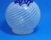Hand Blown Opalescent Swirl Rose Bowl with Cobalt Blue Trim