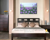 65%off SPECIAL - Purple Flower Painting Sky Blue Green Lavender Field of Wild Flowers Large 24x36 High Quality Original Art