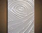 Pearl White Painting - Metallic Pearl White Abstract Acrylic Sculptural - Protecting Platinum Creation 11x14 High Quality Original Fine Art