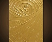 SALE Gold Painting Yellow Abstract Acrylic 14x11 High Quality Original Sculptural Impasto Modern Fine Art - The Golden Rule Creation