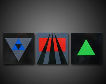 """SPECIAL Abstract Geometric Painting Grey Blue Red Green Black - Timeless Language - 12""""x36"""" High Quality Original 3 Piece Modern Fine Art"""