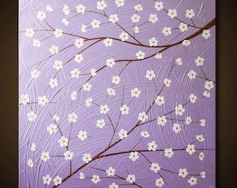 Painting Purple Flower Blossom Tree Light Purple Lavender Bronze Gold White 24x24 High Quality Original Modern Fine Art