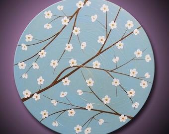 "Painting Blue Flower Blossom Tree Branch Sky Bronze Gold White Blossoms 20"" Round High Quality Original Modern Fine Art"