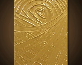 Gold Painting Yellow Abstract Acrylic 14x11 High Quality Original Sculpture Modern Fine Art The Golden Rule Creation