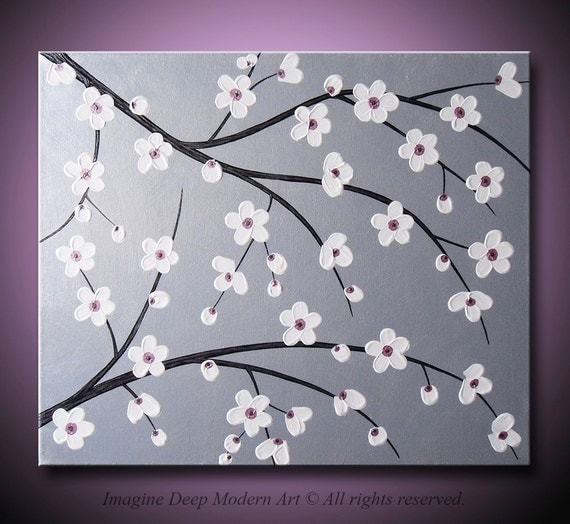 Pink Flower Tree Painting Special silver painting flower