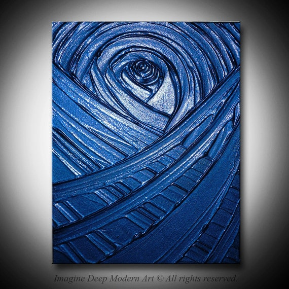 Blue Painting Indigo Royal Navy Blue - Healing Sapphire Creation - 11x14 High Quality Original Textural Sculptural Impasto Modern Fine Art