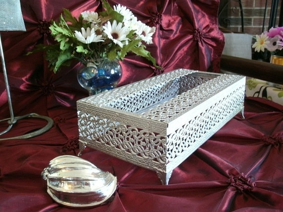 Vintage Silver Tissue Box Holder By Classichoundstooth On Etsy