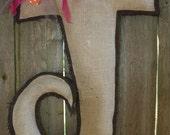 """Letter """"J"""" burlap door hanger"""