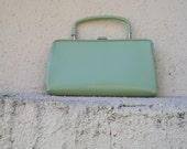 Vintage 1960's Mint Green Audrey Hepburn Handbag. Very retro, Mad Men, Jackie Kennedy.