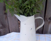French Farmhouse Ivory Painted Metal Milk Pitcher /  Shabby Cottage Chic