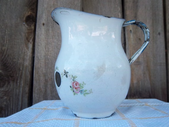 Vintage White Enamelware Milk Pitcher with Pink Roses Cottage Chic French Country Farmhouse.