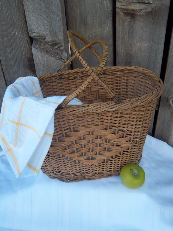 Vintage Tall Wicker Basket with Handles Shabby Cottage Chic Farmhouse Rustic Primitive French Country