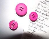 Pink Buttons Fridge Magnets x3