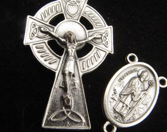 Celtic Irish Large Cross with St. Patrick/St Bridget Centerpiece - Made in Italy