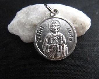 Saint Jude Catholic Charm with Prayer on Back